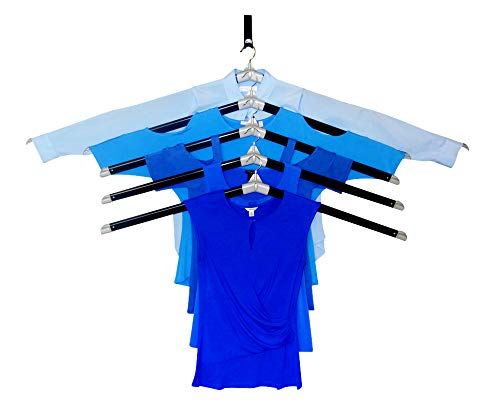 The Laundry Butler Basics - Clothes Drying Rack Hangers for Laundry - 5 Extendable Cascading Hangers Drying of Clothes - Over The Door Hook for Laundry Room - Laundry Room Basics
