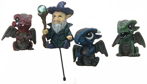 Fiddlehead Fairy Garden Wizard with Set of 3 Assorted Baby Dragons.