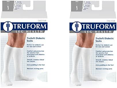 Truform 1913, Diabetic Compression Socks, 8-15 mmHg, Knee High, Cushion Foot, White, X-Large (Pack of 2)