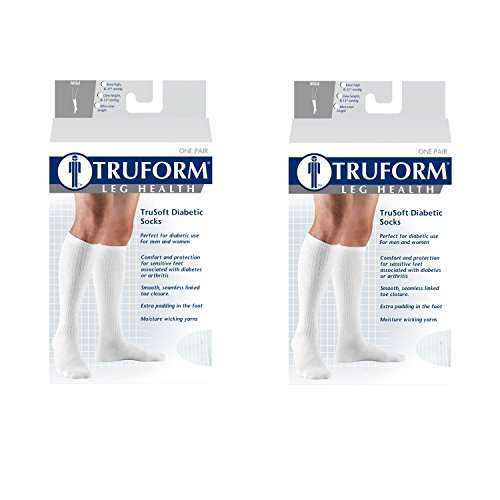 (Truform 1913, Diabetic Compression Socks, 8-15 mmHg, Knee High, Cushion Foot, Black, X-Large (Pack of 2))