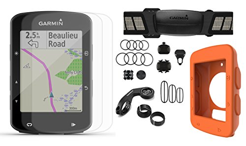 Garmin Edge 520 Plus (2018 Version) Cycle Bundle   w/PlayBetter Silicone Case & Screen Protectors   Maps/Navigation, Mounts   GPS Bike Computer (Orange Case, Speed/Cadence - Edge 1000