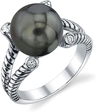11mm Tahitian South Sea Cultured Pearl & Crystal Braided Ring
