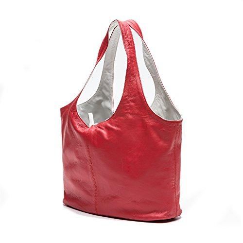 Zerimar Sacchetto Reversible di spalla in pelle per le donne Borsa a tracolla grande in pelle mórbida Colore Rosso-bianco1 Misure 20x14x31 cms