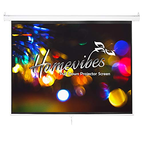 Homevibes 120 inch 4:3 Projector Screen Pull Down Portable Movie Screen Video Projection Screen for Home Theater Outdoor, 4K 3D 4K HD Matte White Manual Wall Ceiling Mounted with Auto Lock, 1.3 Gain