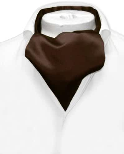 Vesuvio Napoli ASCOT Solid CHOCOLATE BROWN Color Cravat Men's Neck Tie