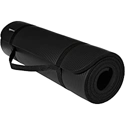 AmazonBasics 1/2-Inch Extra Thick Exercise Mat with Carrying Strap, Black