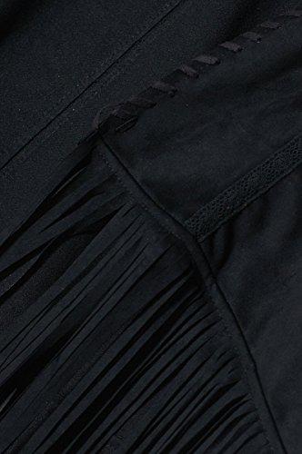 Cherry Paris venta Special Promo -40%–Chaqueta Chaleco Mujer Asha abierto en tejido estilo ante sin mangas finitions laçage y dobladillo con flecos negro