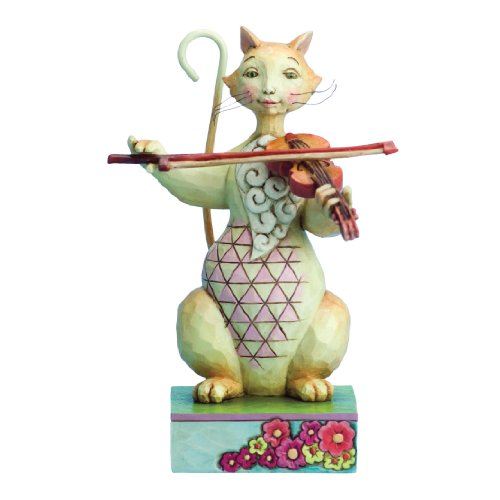 Enesco Jim Shore Heartwood Creek Cat with Fiddle Figurine, 6.25-Inch