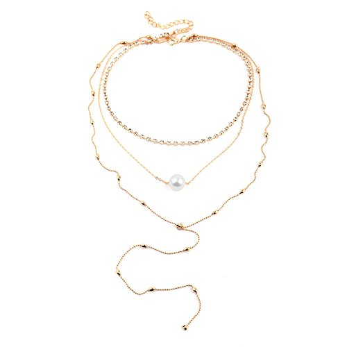 Bohemia Layer Beads Chain Choker Necklace Crystal Lariat Simulated Pearl Pendant Tassel Necklace for Women Girl Boho Jewelry-Gold