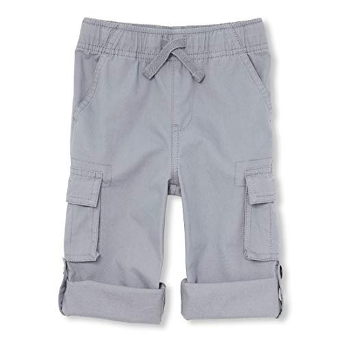 The Children's Place Baby Boys Roll Up Solid Cargo Pants, fin Gray, 12-18MOS