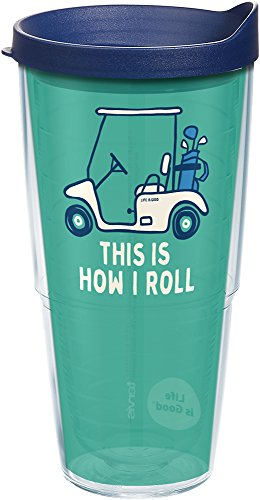Tervis 1253053 Life Is Good-Golf Cart Insulated Tumbler with Wrap and Navy Lid, 24oz, Clear
