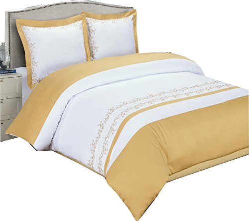 sheetsnthings Luxury Gold with White Embriodered Amalia 3-piece Full/Queen Duvet-Cover-Set 100% Cotton- Hidden button ()