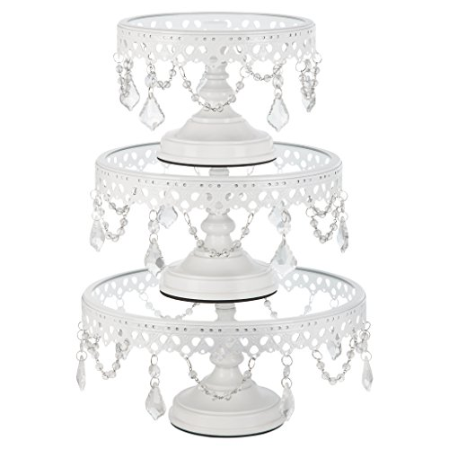Wedding Cake Stand Set - Victoria White Cake Stand Set of 3, Round Glass Plate Metal Dessert Cupcake Pedestal Wedding Party Display with Crystals