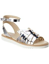 afe020fb7c22 Catnip - Silver Mirror Leather Cut-Out Low Platform Wedge Sandal
