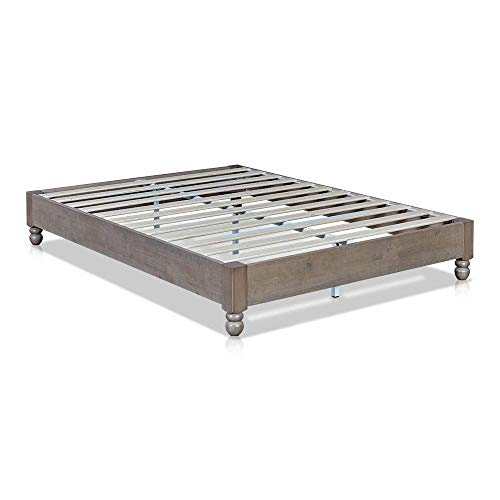 MUSEHOMEINC Wood Platform Bed Frame Rustic Style,Mattress Foundation no boxspring Needed Rustic Grey Finish, Queen