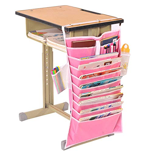14 Pockets Desk-Side Mount Hanging Caddy Storage Organizer Heavy-Duty Oxford Large Adjustable Students Classroom Book File Pens Holder Water Bottle Cellphone Pouch Stationery Storage Bag