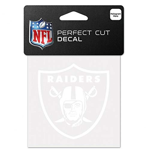 (WinCraft NFL Oakland Raiders 4x4 Perfect Cut White Decal, One Size, Team Color)
