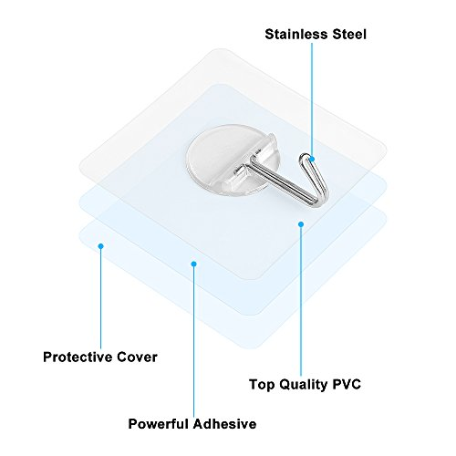 Adhesive Hooks 8 Packs, Heavy Duty 20lb (Max) Wall Hanging Hooks Self Adhesive Decorative Utility Clear Transparent Coat Towel Hook Set Waterproof Oilproof for Shower Bathroom Kitchen Wall & Door