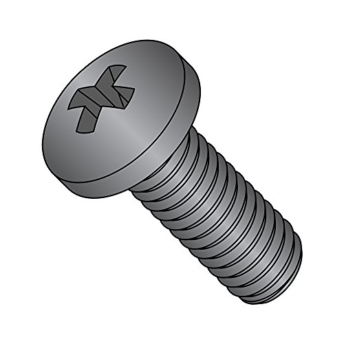 Steel Pan Head Machine Screw, Black Oxide Finish, Meets DIN 7985, #1 Phillips Drive, M3.5-0.6 Thread Size, 10 mm Length, Fully Threaded, Import (Pack of 100)