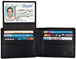Wallet for Men-Genuine Leather RFID Blocking Bifold Stylish Wallet With 2 ID Window (Carbon Fiber Black)