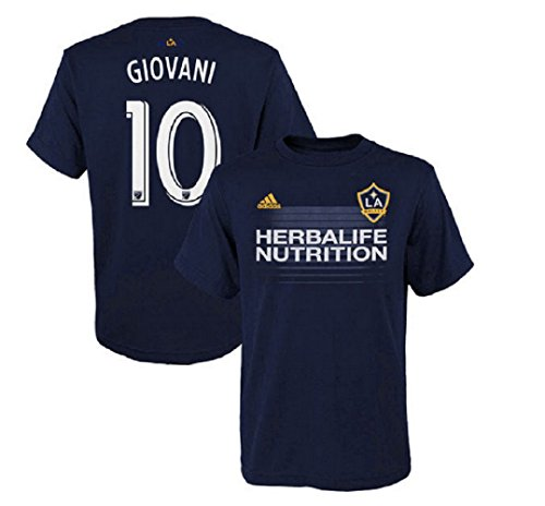 adidas Giovani Dos Santos Los Angeles Galaxy #10 Youth Player Name & Number T-Shirt Navy (Youth Large)
