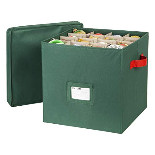 Richard's Homewares - 64 Compartment Cube Ornament Organizer - Holiday Green with Red Handles