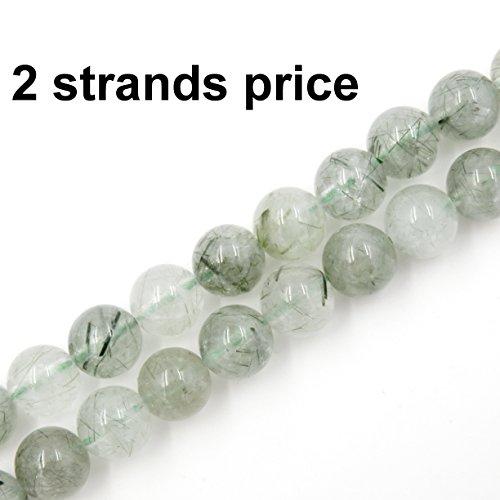 Precious gemstone beads for jewelry making, 100% natural AAA grade, sold per bag 2 strands inside (Green Rutilated Quartz, 8mm)