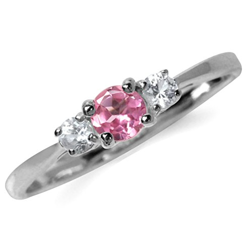 Pink Tourmaline Ring - Petite Natural Pink Tourmaline & White Topaz Gold Plated 925 Sterling Silver Promise Ring Size 4