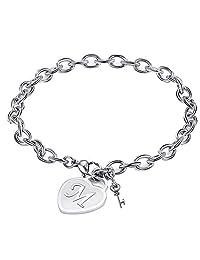 Heart Initial Charm Bracelets for Women Stainless Steel Heart Engraved 26 Letters Alphabet Bangle Bracelet with Cute Key Birthday Christmas Jewelry Gift for Women Teen Girls
