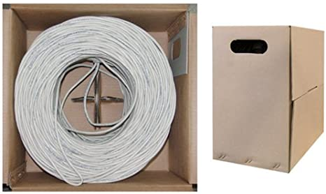 1000 feet CAT5E 24AWG 4PR Solid Shielded Ethernet Cable STP White