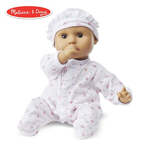 "Melissa & Doug Mine to Love Mariana 12-Inch Baby Doll, Romper and Hat Included, Wipe-Clean Arms & Legs, 12.4"" H x 7.2"" W x 4.7"" L"