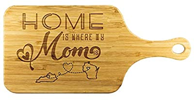 Funny Long Distance Relationship Bamboo Engraved Cutting Board - Home Is Where My Mom Is Kentucky State KY And Wisconsin State WI - Mom Gifts, Anniversary, Birthday Gift