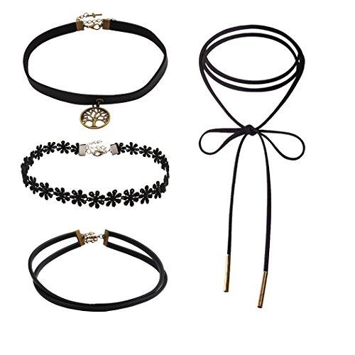 Jane Stone Combinaison Vente 4 Colliers Tatouage Ras du Cou Noir Personnalise Femme Bijoux Tendance