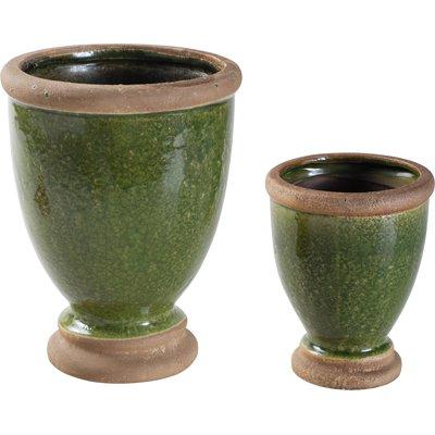 Glazed Ceramic Urn Pot Green I Set Of 2