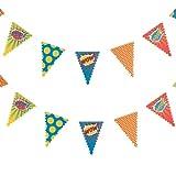 William & Douglas Superhero Pop Art Bunting Banner Garland Superhero Theme Birthday Party Supplies Decoration