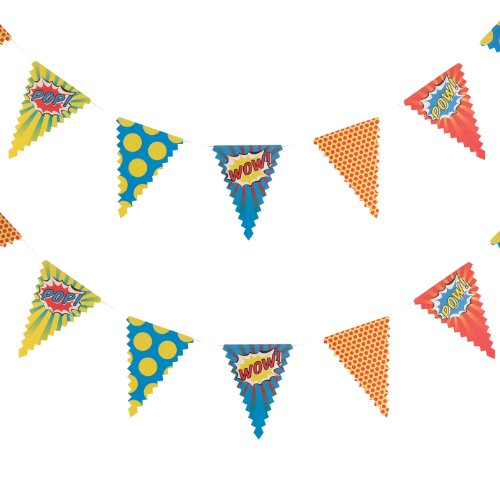 Ginger Ray Bunting Pop Art Superhero Party Banner Decoration, (Superhero Themed Parties)