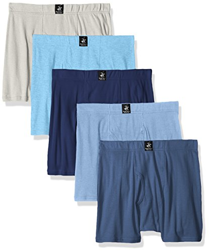 Beverly Hills Polo Club Men's 5 Pack Comfort Boxer Brief, Navy/Light Blue/Middle Blue Heather/Light Blue Heather/Grey Heather, Medium