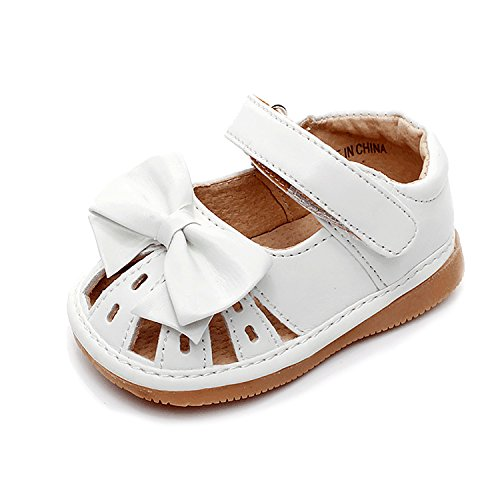 UBELLA Toddler Baby Girls Sandals Squeaky Shoes Bowknot Princess Punch Flats (Removable Squeakers) - Baby Girl Squeaker Shoes