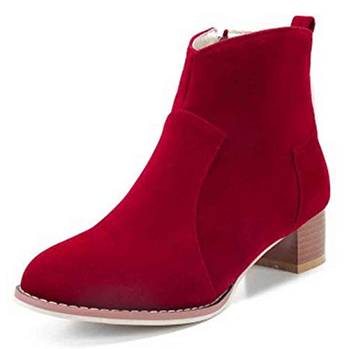 Easemax Womens Casual Nubuck Round Toe Zipper Mid Block Heel Ankle Boots Red Gifcak