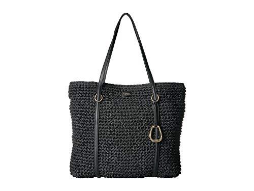 Lauren Ralph Lauren Tolton Crochet Straw Tote (Black)