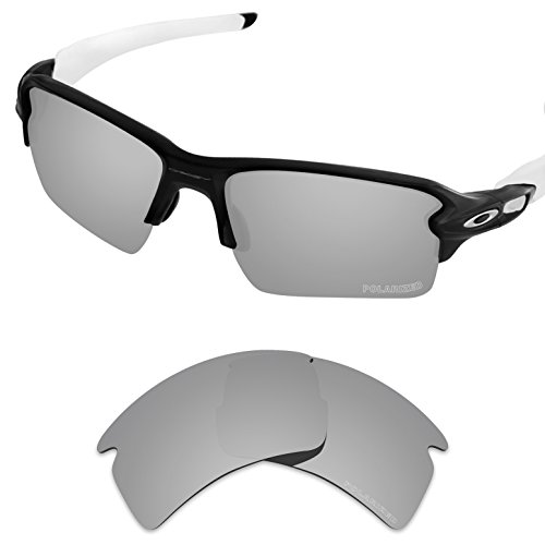 Replacement Lenses Eyewear Glasses - Tintart Performance Replacement Lenses for Oakley Flak 2.0 XL Sunglass Polarized Etched-Silver Metallic