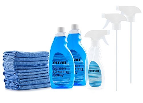 Ecran Screen Cleaning Kit with 2 Bottles of Screen Cleaning Spray 16.9 oz | 10 Microfiber Cleaning Cloths 11.8'' x 11.8'' | 8.45oz Empty Spray Bottle for LED LCD TV, Monitors, Laptop, and iPad Screens by Ecran