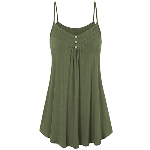 (HGWXX7 Women Summer Casual Loose Button V Neck Solid Cami Vest Blouse Tank Tops (M, Army Green))