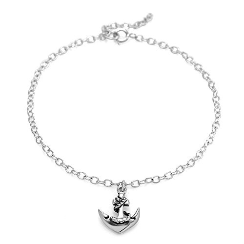 925 Sterling Silver Navy Sailor Ship Anchor Charm Chain Bracelet (Sterling Silver Navy Charms)