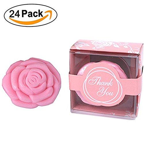 Dodola 24 Pcs Handmade Pink Rose Soap Favors Guests Keepsake Gift