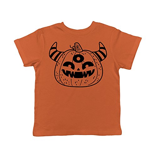 Crazy Dog T-Shirts Toddler Monster PumpkinTShirt Funny Halloween Trick Or Treat Tee for Kids -5T Orange ()