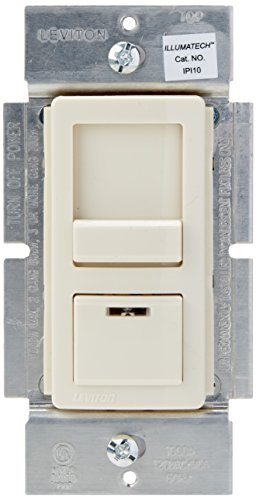 - Leviton IPI10-1LZ IllumaTech 1000W Preset Incandescent Dimmer, Single Pole or 3-Way, White/Ivory/Light Almond