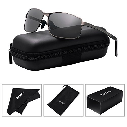 1d78d6cb557 Zealme Polarized Rectangle Sunglasses for Men Women TAC HD Vision Plastic  Lens.