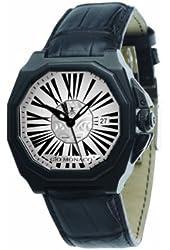 Gio Monaco Men's 710-A Medusa Octagon Black PVD White Dial Alligator Leather Watch
