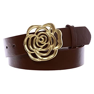"""1 1/2"""" Women's Snap On Western Engraving Hollow Out Perforated Rose Flower Buckle Belt"""